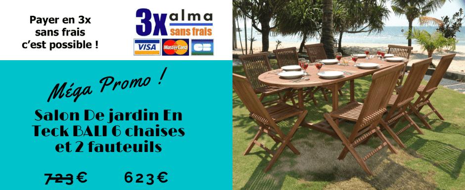 Promotion salon de jardin en teck avec 6 chaises et 2 fauteuils BALI